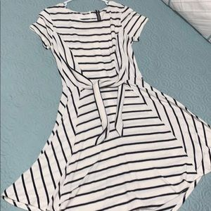 Striped Tie Front Fit & Flare Dress